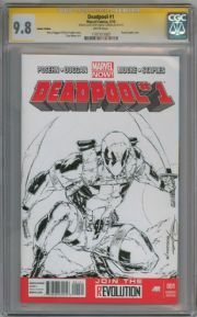 Deadpool #1 Blank  CGC 9.8 Signature Series Signed Adelso Corona Sketch Marvel comic book